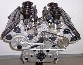 A V6 internal combustion engine from a Mercedes-Benz