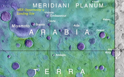 Annotated elevation map of Opportunity landing site and some surrounding craters including Endeavour and Miyamato