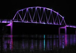 Norbert F. Beckey bridge at Muscatine, Iowa, with LED lighting