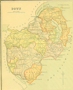1885 map, with the county divided into baronies