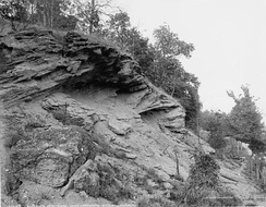 Prophet's Rock near the Tippecanoe battleground about 1902. Tenskwatawa is believed to have sung or chanted from this rock to exhort his warriors against Harrison's forces.[28]