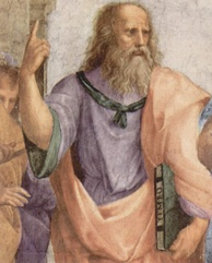 Plato is depicted in Raphael's The School of Athens anachronistically carrying a bound copy of Timaeus.