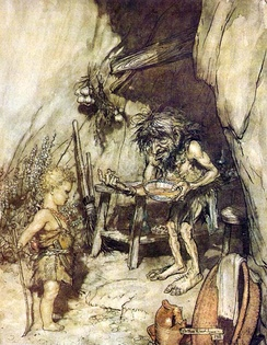 Mime offers food to the young Siegfried, an orphan he is raising; Illustration by Arthur Rackham to Richard Wagner's Siegfried