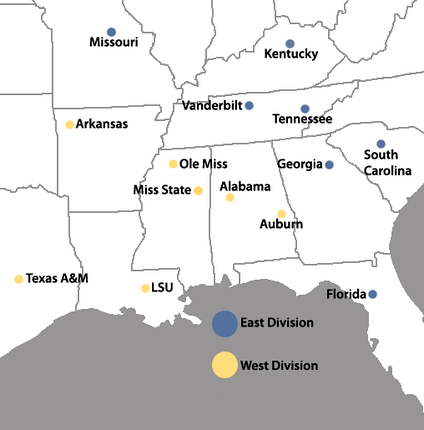 Locations of the SEC full-member institutions