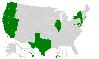 Map of the United States showing states and territories that have banned the sale and possession of shark fins as of 2020 (shown in green).