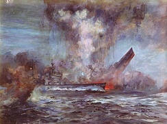HMS Hood sinking after a catastrophic explosion during battle with Bismarck.