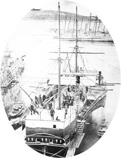 SMS Vulcano at Pula in 1879, this ship, acting as a balloon carrier, launched the first naval aviation attack in 1849 against Venice