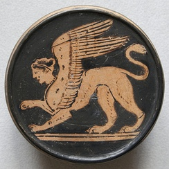 Sphinx. Attic red-figure pyxis, 2nd half of the 5th century BC. From Nola (Italy)