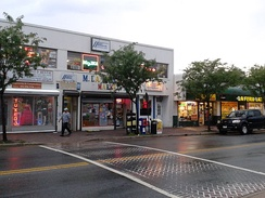 Storefronts along Mount Vernon Avenue in the Arlandria section of Alexandria reflect the large Hispanic population in the area.