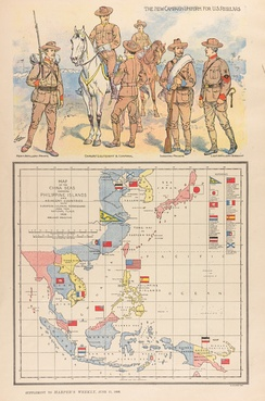 "In this ""patriotic"" map of the China Seas, a large American flag is planted on the spot of the battle of Manila Bay, where on May 1st, Dewey had defeated the Spanish."