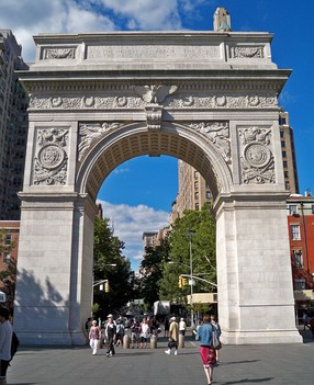 Fifth Avenue begins at the Washington Square Arch in Washington Square Park