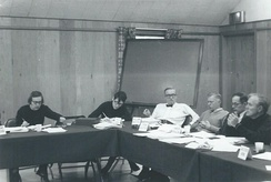 Scholars discussing issues of American defense posture and European security during a 1969 ACDA meeting at Lake Mohonk, New York