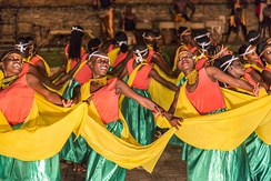 Ndere Center in Kampala is a center where all traditional Ugandan dances are represented. This dance is from the south of Uganda, on the border with Rwanda