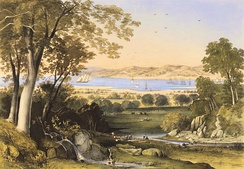 Thomas Colman Dibdin, A view of Koombana Bay, 1840, hand coloured lithograph, National Library of Australia