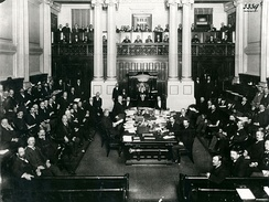 Australia's first Prime Minister, Edmund Barton at the central table in the House of Representatives in 1901.