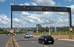 "Automatic speed enforcement gantry or ""Lombada Eletrônica"" with ground sensors in Brasília, D.F"