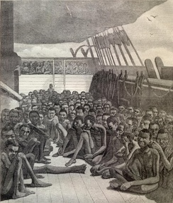 Illustration of slave ship used to transport slaves to Europe and the Americas
