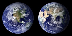 Two views of the Earth from space.