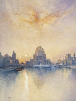 Thomas Moran - Chicago World's Fair - Brooklyn Museum painting of the Administration Building