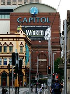 Australian productions have played at the Regent Theatre, Melbourne (left) and the Capitol Theatre, Sydney (right)