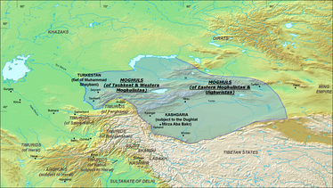 The Turpan Khanate and Yarkent Khanate in 1490