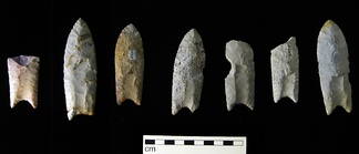 Clovis points from the Rummells-Maske Cache Site, Iowa