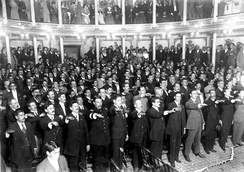The new constitution was approved on 5 February 1917, and it was based in the previous one instituted by liberal Benito Juárez in 1857. This picture shows the Constituent Congress of 1917 swearing fealty to the newly created Constitution.