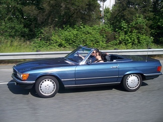 Convertible with a driver and a passenger