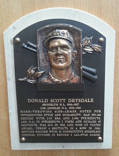Don Drysdale's plaque at the Baseball Hall of Fame