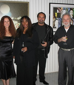 Donna Summer in 2007 with husband Bruce Sudano and her longtime collaborator, Italian composer Giorgio Moroder. On the left Giorgio Moroder's wife Francisca Gutierrez.