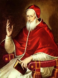 Pope Pius V, who issued the Papal bull excommunicating Elizabeth and relieving her subjects of their allegiance to her