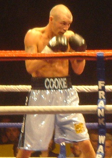 English boxer Nicky Cook with his ring name Cookie on the trunks
