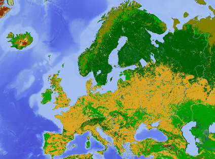 A land use map of Europe—major non-natural land uses include arable farmland (yellow) and pasture (light green).