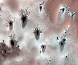 Fractal defrosting patterns, polar Mars. The patterns are formed by sublimation of frozen CO2. Width of image is about a kilometer.