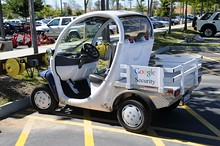 GEM on duty as security car at Googleplex, Mountain View, California
