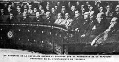 After the continuous unsuccessful Francoist sieges on Madrid during the Spanish Civil War, the government of the Republic of Spain decreed Valencia as the capital of the country, from 7 November 1936 until 31 October 1937.[53]