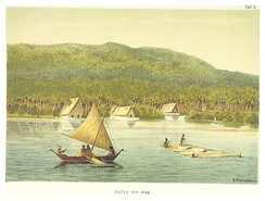 Stone money transport to Yap Island in Micronesia (1880)