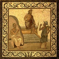 A mosaic of Hippocrates on the floor of the Asclepieion of Kos, with Asklepius in the middle, 2nd-3rd century