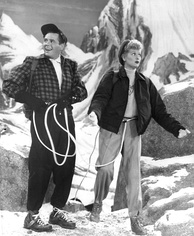 Lucy and Ricky climb in the Alps during their 1956 European vacation.