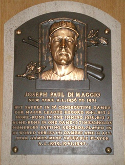 DiMaggio's plaque at the Baseball Hall of Fame