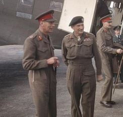 George VI (left) with Field Marshal Sir Bernard Montgomery (right), Holland, October 1944