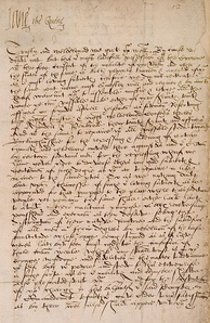"Official letter of Lady Jane Grey signing herself as ""Jane the Quene"". Inner Temple Library, London."