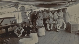 Curzon and his wife and staff on tour of the Persian Gulf in 1903