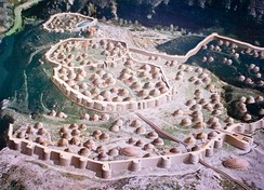 Painting of a Copper Age walled settlement, Los Millares, Spain