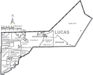 Map of Lucas County, Ohio with Municipal and Township labels