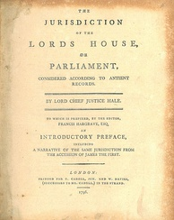The title page of Hale's The Jurisdiction of the Lords House, or Parliament (1796)[130]