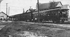 Mississippi Central Railroad passenger train in Sumrall, Mississippi, early 1900s.