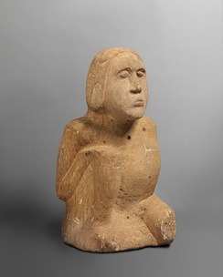 Sandstone male statue, 13th–14th century, discovered in 1895 on the banks of the Duck River in Humphreys County, Tennessee