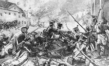 Fighting in the streets of Essling. Beleaguered French infantry exchanges fire with Austrian troops in the distance.