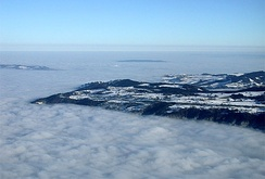 View from the Rigi on the sea of fog covering the Swiss Plateau